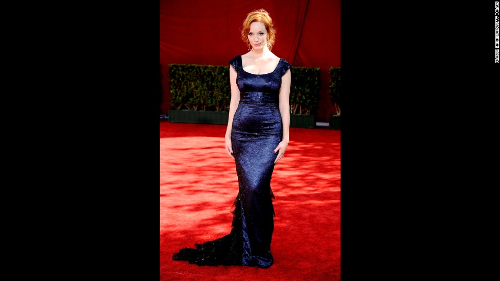 Actress Christina Hendricks wears a dark blue L'Wren Scott gown at the 2009 Primetime Emmy Awards.
