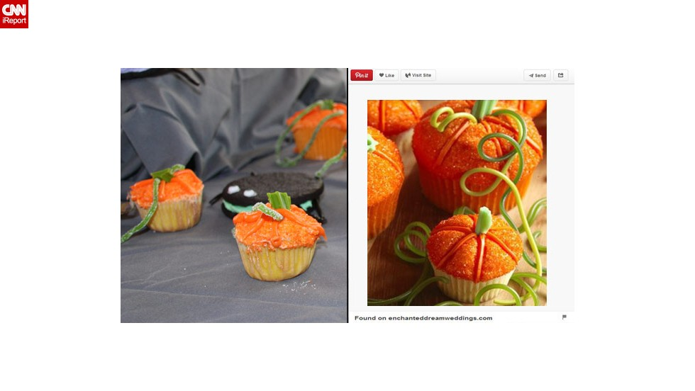 """For Halloween, Brockett wanted to make some cute and tasty Pinterest-inspired pumpkin patch cupcakes. """"They didn't rise and while I thought about compensating with 2 inches of icing, I decided that might not be the best thing to feed a party full of small children. They weren't necessarily pretty, but the kids found them fun and ate them readily."""""""