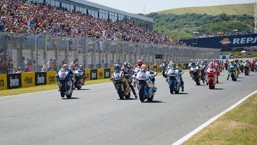 The circuit of Jerez, which will play host to the Grand Prix of Spain on May 4, has become one of the season's most popular venues. The track, built in 1986, is set in a slight valley in the south of the country and its good weather, along with some fine scenery, makes for 250,000 happy spectators.