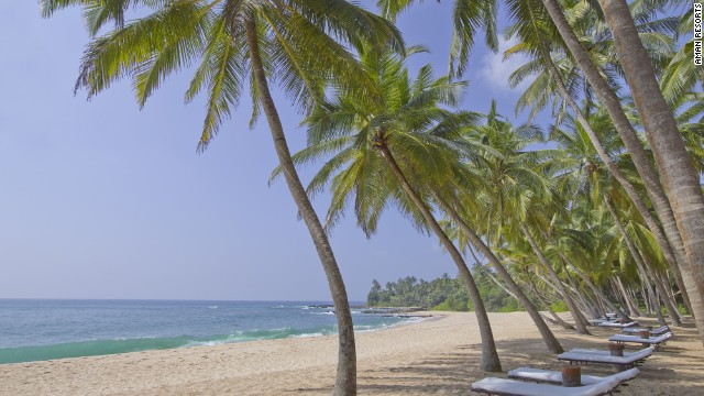 Amanwella resort's beach in Tangalle.