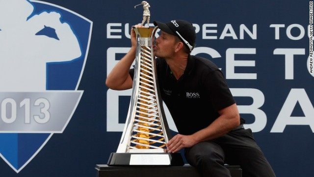 Sweden's Henrik Stenson celebrates winning last year's DP World Tour Championship in Dubai.
