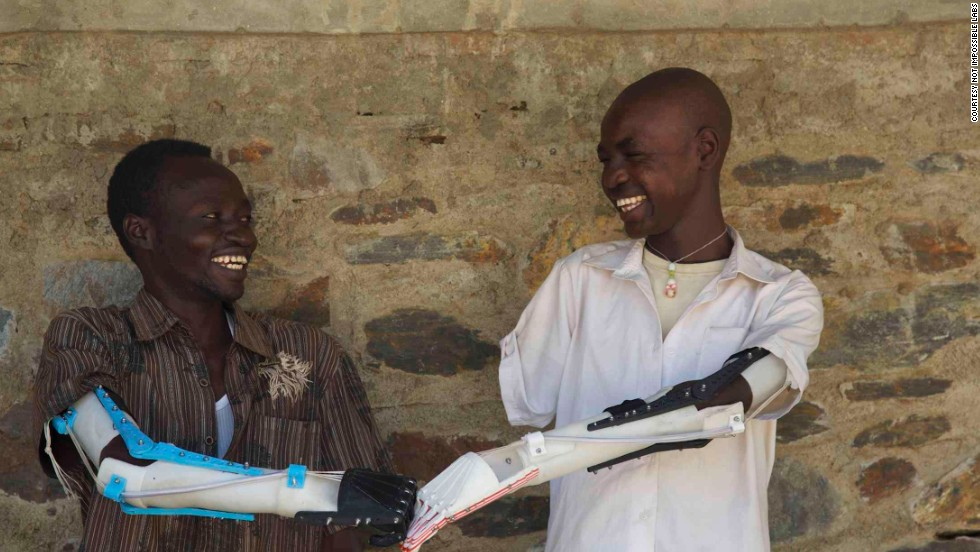 Robohand has collaborated with American Mike Ebeling to provide affordable printed arms to war amputees in Sudan.