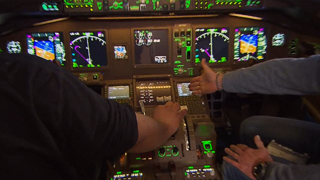 Inside the cockpit of a Boeing 777