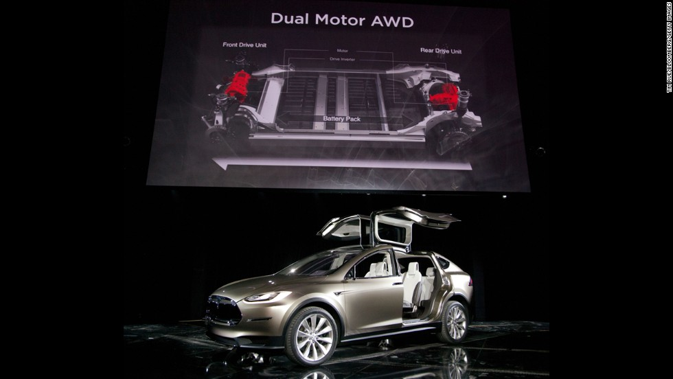The Tesla Model X is unveiled at the company's design studio in Hawthorne, California, in 2012.