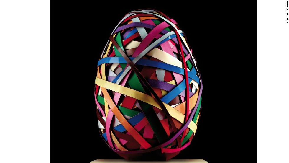 "This may look like an orb made of rubber bands, but it is actually an edible Easter egg from French pastry chef <a href=""http://www.pierreherme.com/"" target=""_blank"">Pierre Hermé</a>. It pays homage to the metal sculptures of Swiss artist <a href=""http://www.vonbartha.com/artists/beat-zoderer/"" target=""_blank"">Beat Zoderer</a> by layering multicolored chocolate strips around an 875-gram Brazilian dark chocolate egg. Hermé has made 15 of the eggs, which retail for $290."