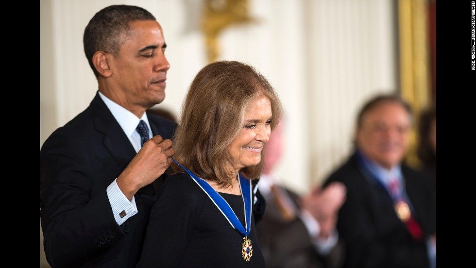 Steinem is presented the Presidential Medal of Freedom by President Barack Obama at the White House in November. It is the nation's highest civilian honor.