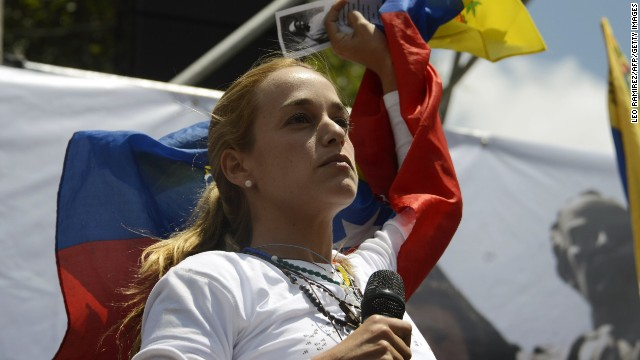 The wife of arrested opposition leader Leopoldo Lopez, Lilian Tintori, takes part in an opposition rally to mark the first month of Lopez's detention in Los Teques, Venezuela on March 18, 2014. AFP PHOTO/LEO RAMIREZ (Photo credit should read LEO RAMIREZ/AFP/Getty Images)