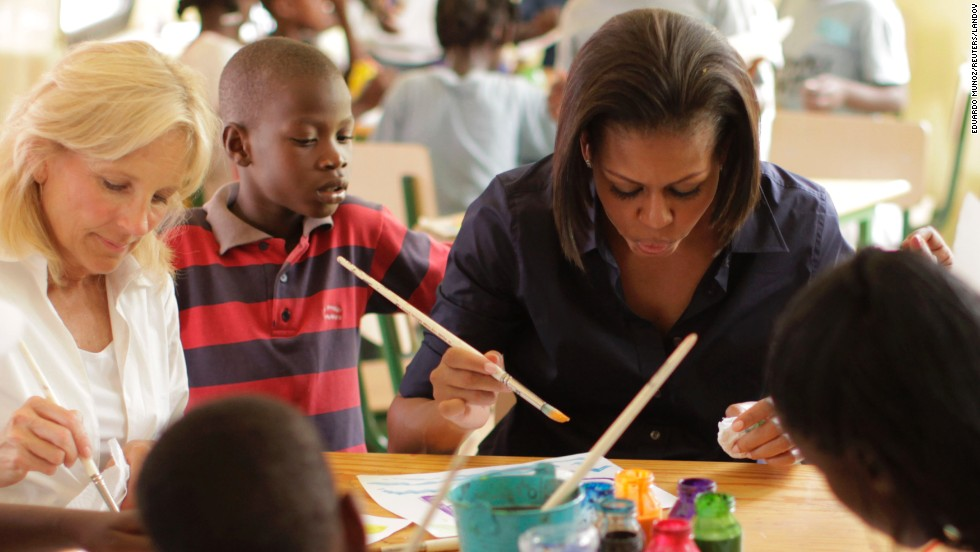 The first lady and Dr. Jill Biden made a surprise visit to Haiti in April 2010. They visited a local school and took a helicopter tour of areas distressed from that year's earthquake.