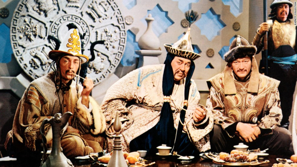 "John Wayne, at right with John Hoyt and Thomas Gomez, played Genghis Khan in ""The Conqueror"" in 1956."