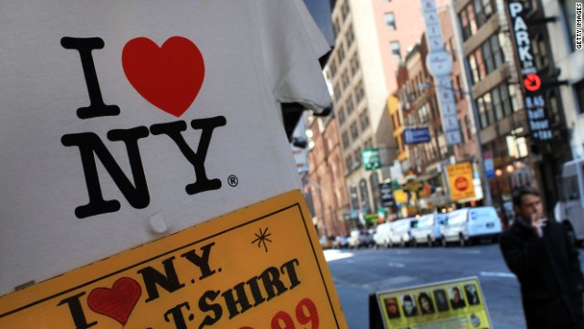 A shirt bearing the 'I Love New York' logo are displayed at a store in Times Square on May 10, 2010 in New York City.