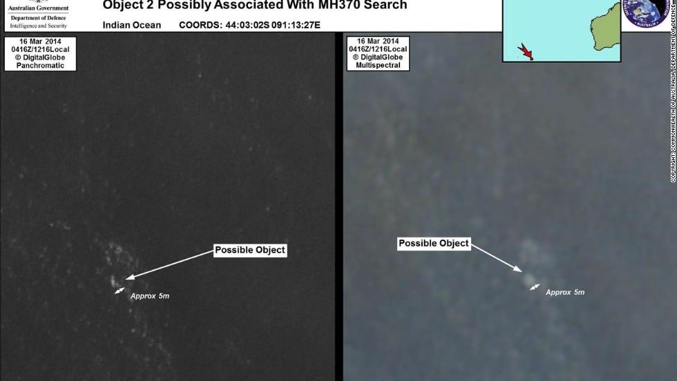 Estos dos objetos a más de 20 kilómetros de distancia, fueron detectados por un satélite. Las autoridades australiana los buscan para determinar si son restos del avión.