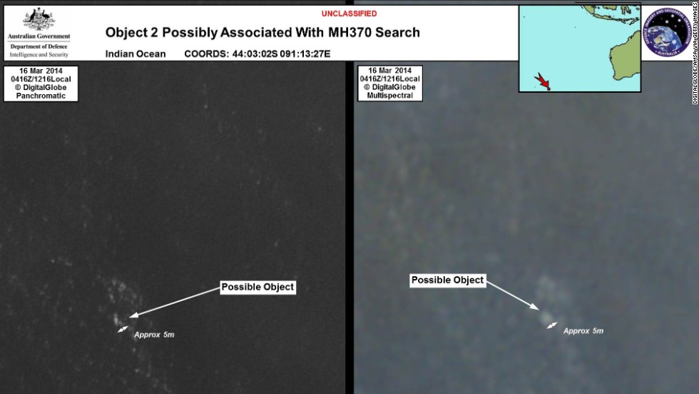 Another satellite shot provided by the Australian Maritime Safety Authority shows possible debris from the flight.