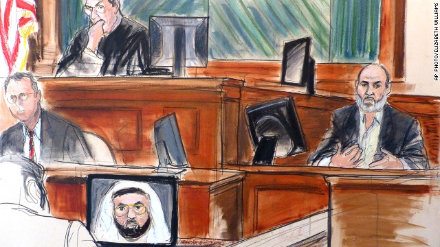 In this courtroom sketch, Sulaiman Abu Ghaith, right, testifies at his trial on March 19, 2014, in New York.