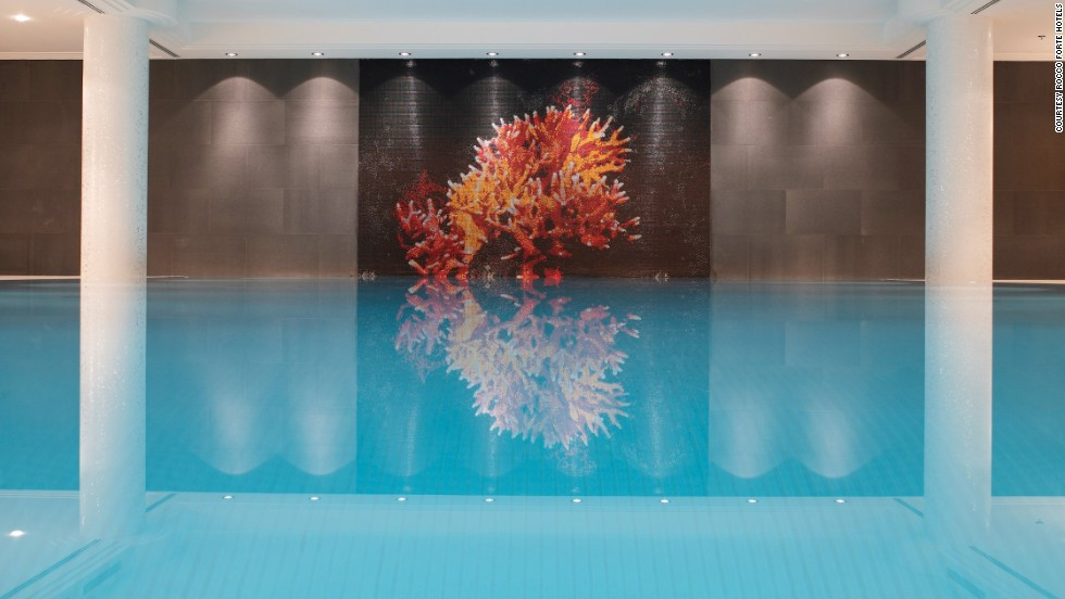 A mosaic of red coral at the pool at Munich's Charles Hotel pays homage to 19th century Bavarian royalty, the Wittelsbach family, known for its collection of red coral paraphernalia.