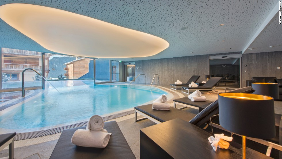 W Verbier's indoor-outdoor pool looks out onto the Swiss Alps.