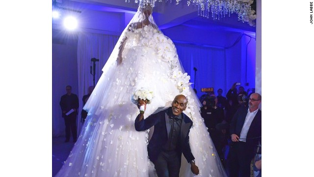 Preston Bailey walks down the aisle at his 2013 wedding.
