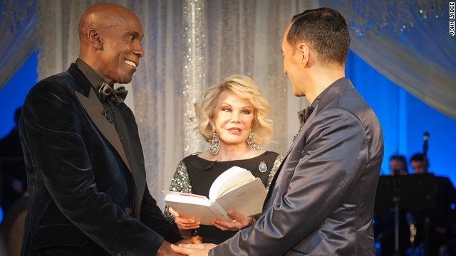 Joan Rivers officiates the Bailey-Bleckmann nuptials