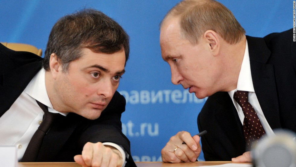 "Vladislav Surkov is a close aide and adviser to Putin. He is often described as the ""Gray Cardinal"" of the Kremlin, one of the masterminds behind the current Russian political system."