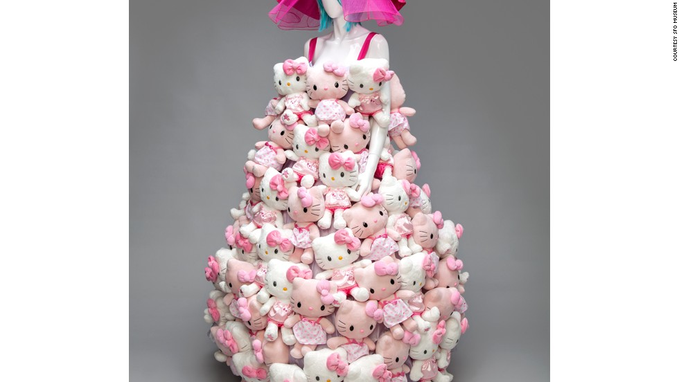 The exhibit features a dress made entirely of Hello Kitty dolls. Hello Kitty celebrates its 40th anniversary in 2014.
