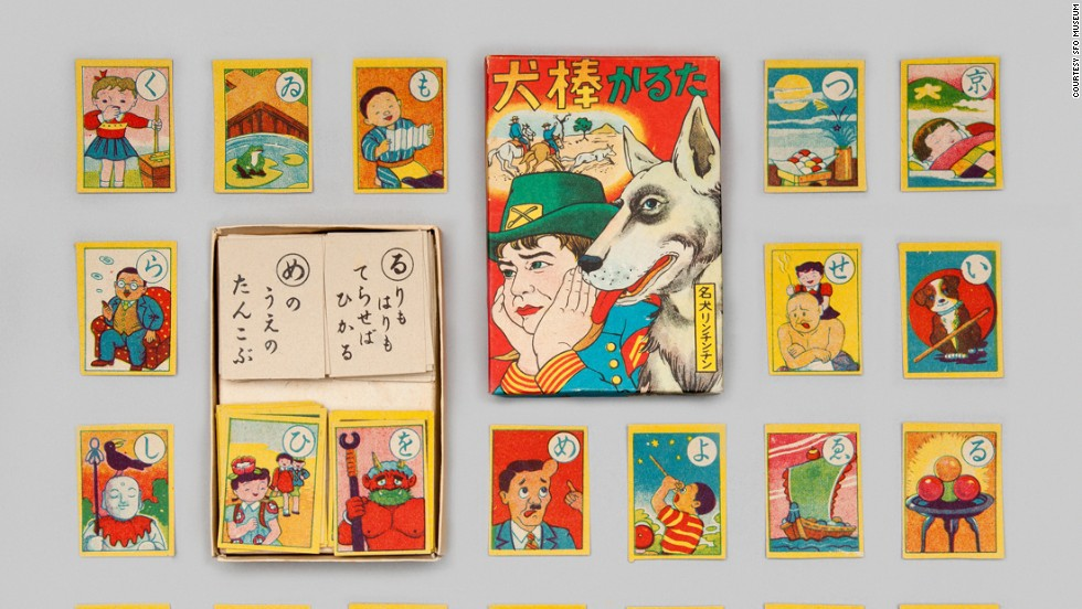 Karuta cards were used to play a traditional game. In one version, a person reads a poem or well-known proverb. The first player who identifies the card with the corresponding character wins the card.