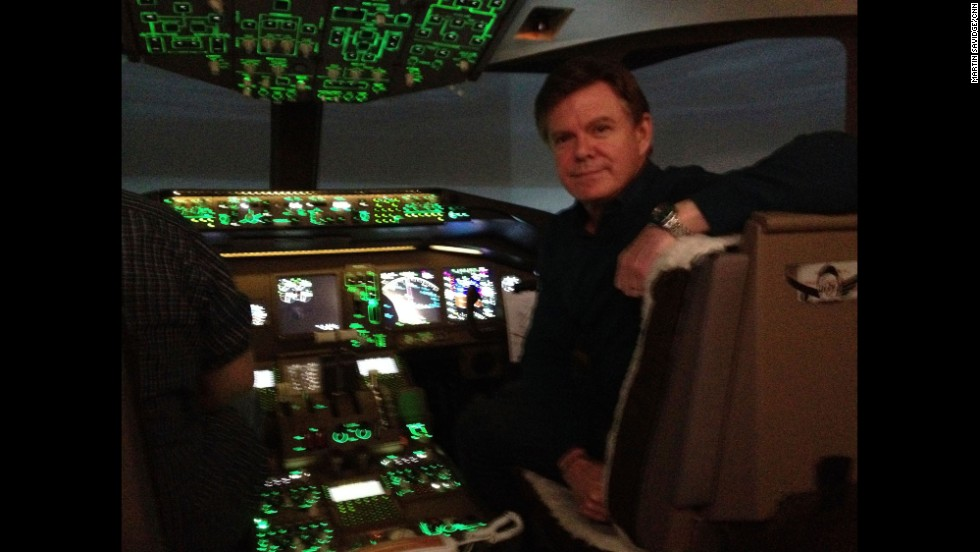 """Me at the controls of a 777-200 over South China Sea. It's a simulator but seems like the real deal.""  By CNN's Martin Savidge, Mississauga, Ontario, March 14.  Follow Martin on Instagram at <a href=""http://instagram.com/martinsavidge"" target=""_blank"">instagram.com/martinsavidge. </a>"
