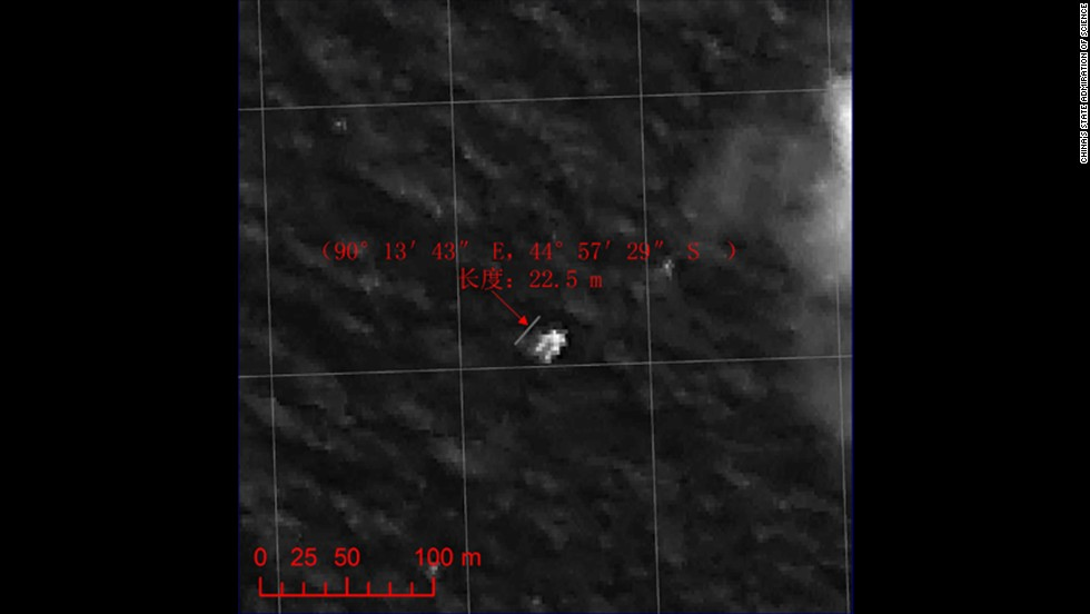 A Chinese satellite captured this image, released on March 22, 2014, of a floating object in the Indian Ocean, according to China's State Administration of Science. It was a possible lead in the search for the missing plane. Surveillance planes were looking for two objects spotted by satellite imagery in remote, treacherous waters more than 1,400 miles from the west coast of Australia.