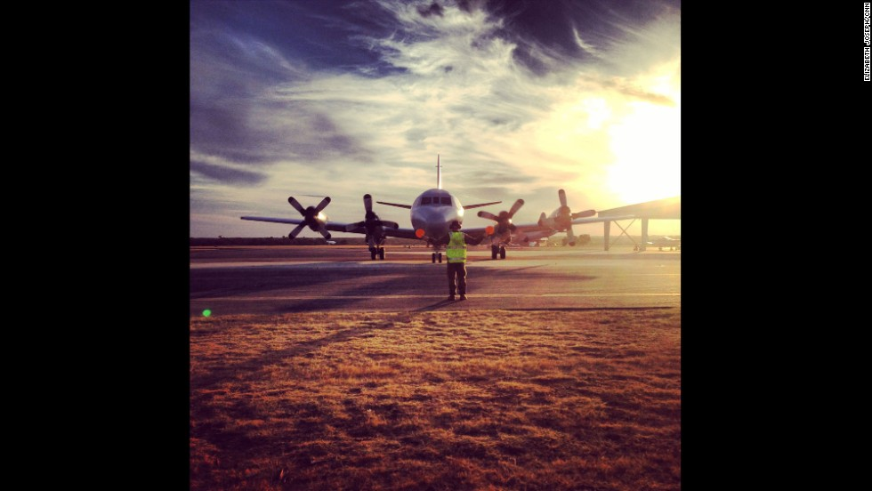 """""""Anxiously waiting on this Australian P-3 Orion's Flying Lieutenant to tell us what he saw (or didn't see) during his MH370 search mission."""" By CNN's Elizabeth Joseph at RAAF Base Pearce, March 22.  Follow Elizabeth on Instagram at <a href=""""http://instagram.com/ejo1224"""" target=""""_blank"""">instagram.com/ejo1224</a>."""