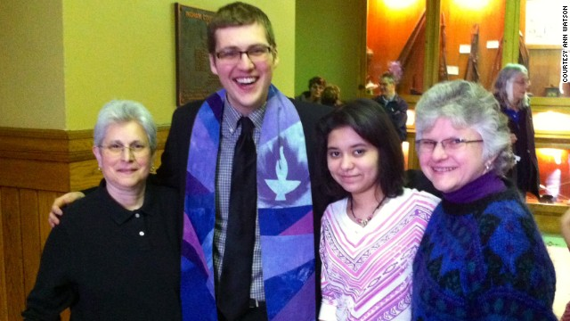 Susan Sherman, Minister Nic Cable, the couple's daughter Sarah Sherman, and Ann Watson celebrate.