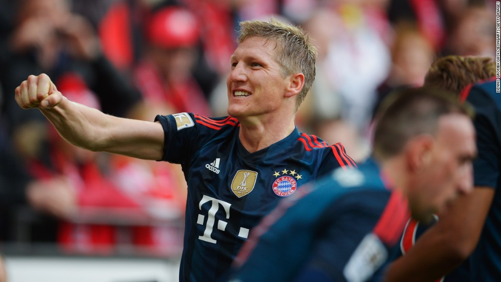 Bastian Schweinsteiger celebrates after scoring in the 2-0 win against Mainz last weekend. Bayern have now scored 79 goals this season, but have some way to go if they are to equal the record the club set way in the 1971/72 season when they put away 101 goals in total.