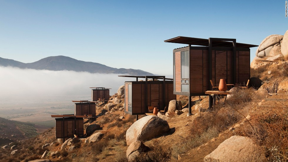 Encuentro Guadalupe Antiresort's shelters blend in with the landscape of Baja California, Mexico.