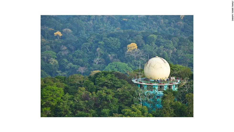 This former radar facility in Gamboa, Panama is now the 12-room Canopy Tower lodge.