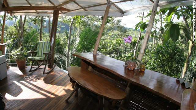 Breakfast comes with a bird's eye view at the Lapa's Nest Tree House in Costa Rica.