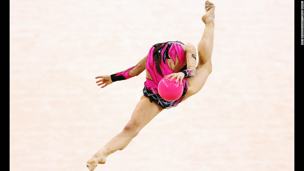 Bulgarian gymnast Sara Staykova performs during the Rhythmic Gymnastics World Cup event in Stuttgart, Germany, on Saturday, March 22.