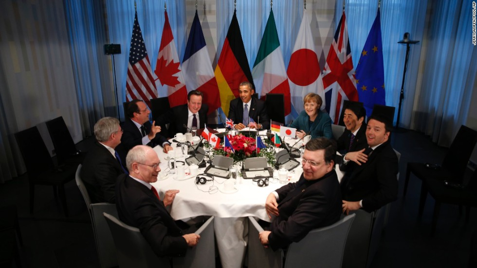 Obama gathers with G7 world leaders in The Hague on March 24.