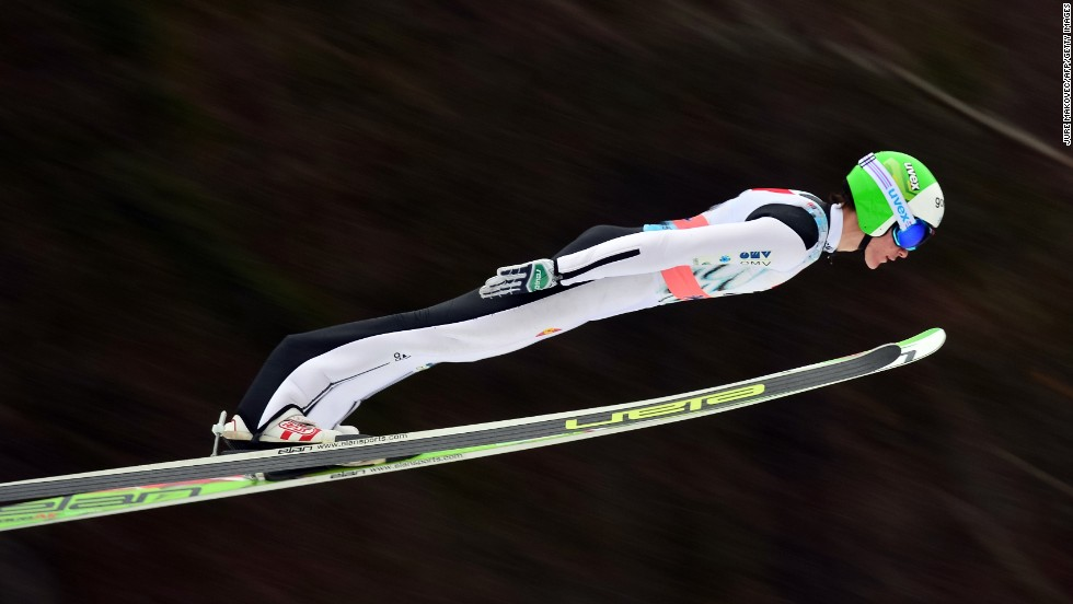 Slovenian ski jumper Peter Prevc competes during the Ski Jumping World Cup event in Planica, Slovenia, on Sunday, March 23.