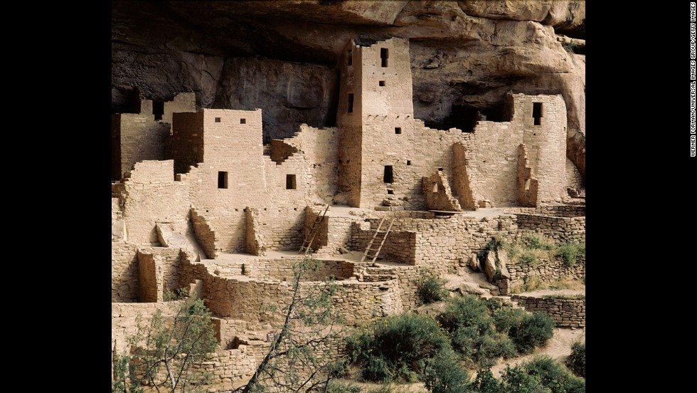 Ancient Puebloans, also called the Anasazi, made a life in the brutal climate located in what is now Mesa Verde National Park in Colorado. Part of the Cliff Palace at Mesa Verde shows dwellings and kivas (partially or wholly underground chambers).