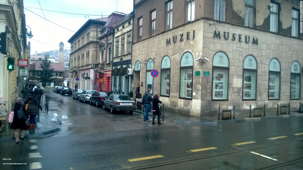 Gavrilo Princip shot Franz Ferdinand as the archduke of Austria's motorcade was driving down the street. Princip stood on the sidewalk of what's now the Museum of Sarajevo 1878-1918. The assassination triggered a sequence of events that escalated to World War I.