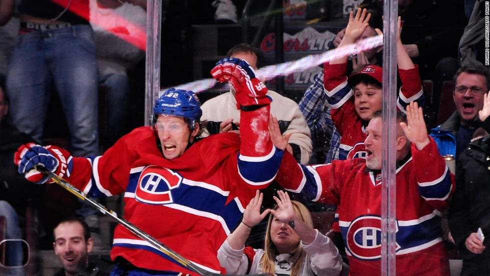 Travis Moen of the Montreal Canadiens celebrates a goal during the NHL hockey game against Colorado on Tuesday, March 18, in Montreal.