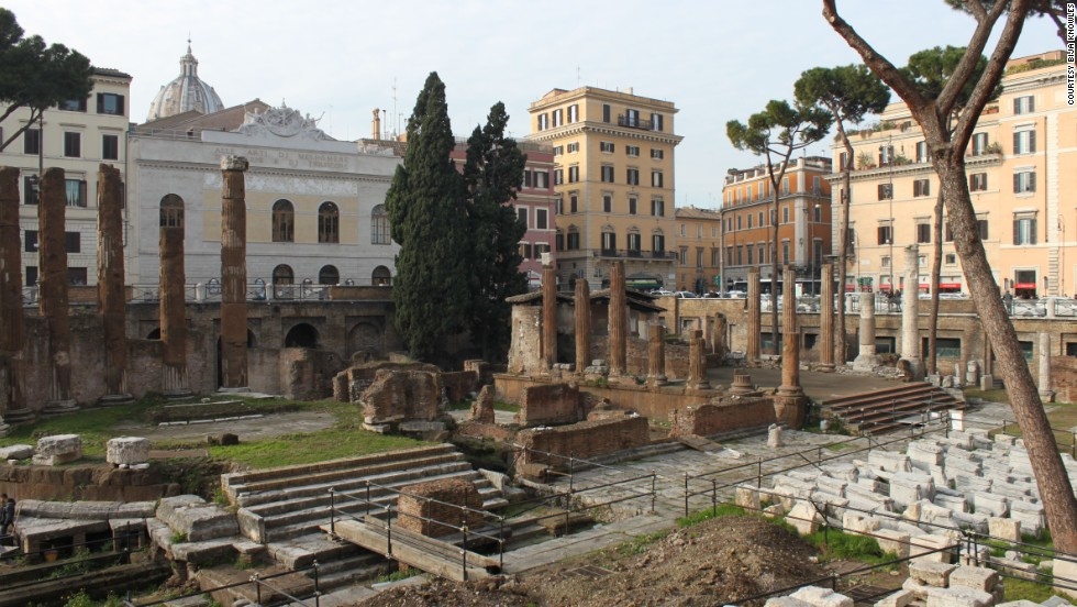 Up to 60 senators were involved in Julius Caesar's assassination plot in 44 BC. He was stabbed 23 times in a senate room just off the porticoes of the Theatre of Pompey. The site is now buried several meters beneath the Teatro Argentina, the white building at the back of this photograph.