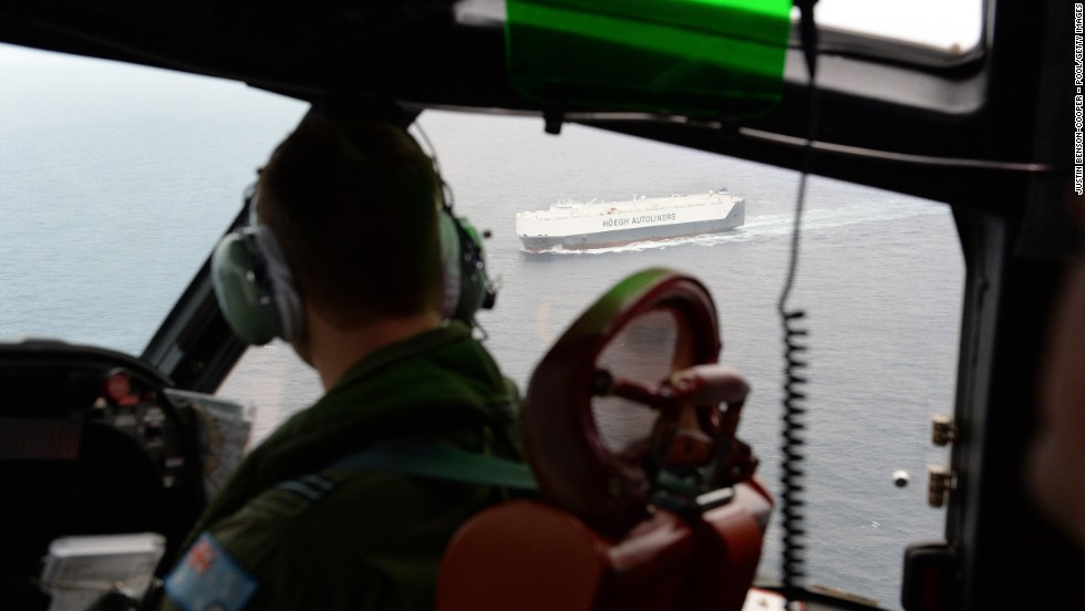 The Norwegian merchant ship Hoegh St Petersburg, which was diverted to take part in the search, is seen from a Royal Australian Air Force P-3 Orion on Friday, March 21.