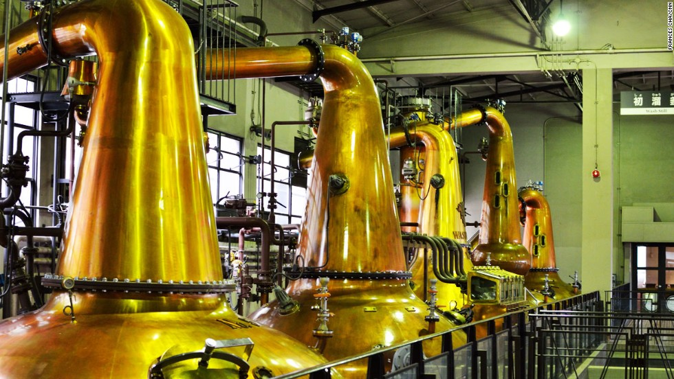 Located in a mountain forest, surrounded by bamboo groves, Suntory's Yamazaki distillery offers one of Japan's most interesting tours. Using copper pot stills of different shapes and sizes, Yamazaki is able to produce a variety of single malt whiskeys from a single distillery.