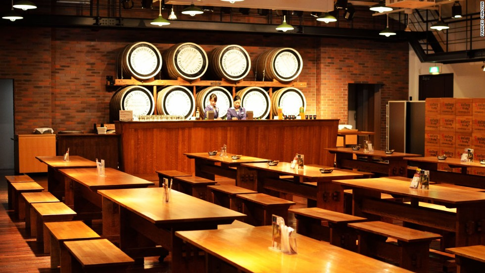At the start of the tour, visitors can taste three of Yamazaki's signature whiskeys for free.