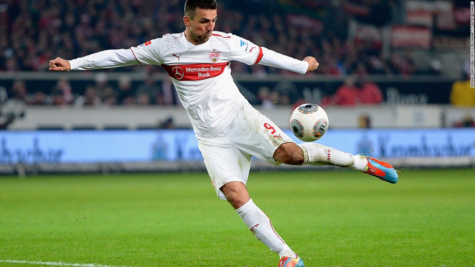 Stuttgart are one of only two teams (along with Mainz) who have gone in at halftime in front against the Bavarians this season. Vedad Ibisevic's (pictured) 29th-minute goal put Stuttgart ahead before two late goals gave Bayern a win at the of January.