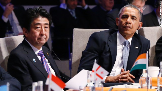 Japanese PM Shinzo Abe and U.S. President Barack Obama pictured in The Hague, Netherlands on March 24.