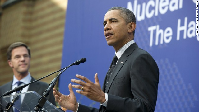 President Barack Obama addresses reporters at the Nuclear Security Summit at The Hague Tuesday March 25.