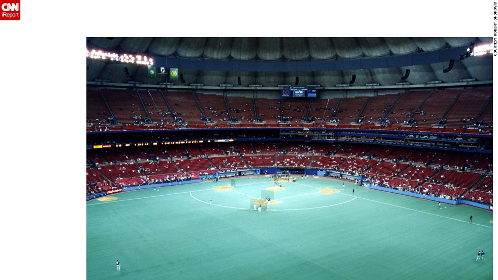 "<strong>Kingdome (1997):</strong> One of several domed stadiums built in the '60s and '70s, the Seattle Kingdome was home to the American League's Seattle Mariners. It was demolished in 2000, which Ondrovic says ""was a welcome relief. They could not blow that up fast enough."""