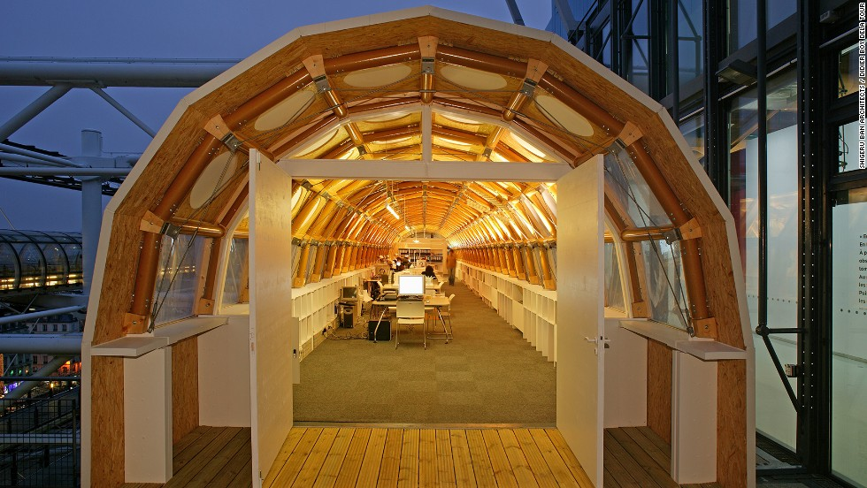Ban also works on mainstream projects. From 2004 to 2009, while designing the Metz branch of the Pompidou Centre,  he worked from this paper-tube office, which he attached to the roof terrace of the Pompidou Center in Paris.