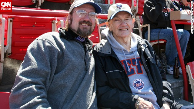 Robert Ondrovic and his dad in 2005 at Mets opening day in Shea Stadium. They saw 28 consecutive opening games there. His father died later that year.