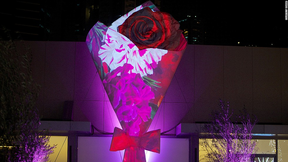 Standing 26-feet tall, this 'bouquet', designed by lingerie designer Chantal Thomass, has  constantly morphing skin. An array of colors and textures are displayed on its exterior.