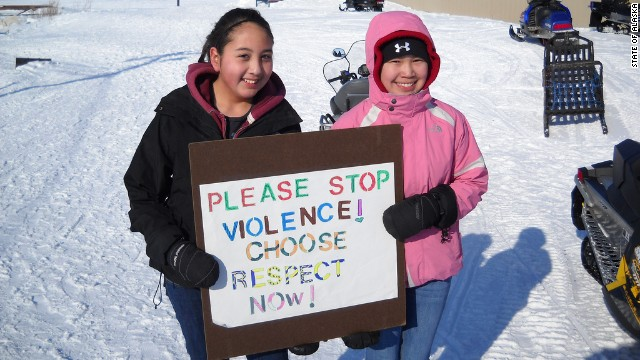 "Young people in Selawik, Alaska, participate in a 2011 ""Choose Respect"" rally."